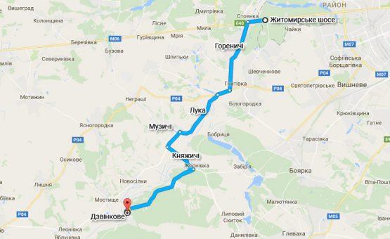 Схема проезда по Житомирской трассе