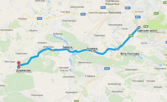 Схема проезда с Одесской трассы