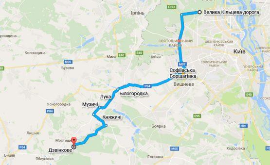 Схема проезда с Большой окружной